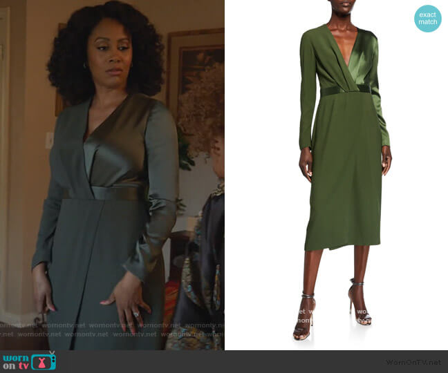 Satin-Back Crepe Long-Sleeve Dress by Dion Lee worn by Lola Carmichael (Simone Missick) on All Rise