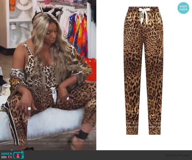 Leopard Print Sweatpants by Dolce & Gabbana worn by Nene Leakes  on The Real Housewives of Atlanta