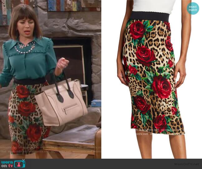 Rose & Leopard Tube Skirt by Dolce and Gabbana worn by Elizabeth (Natasha Leggero) on Broke