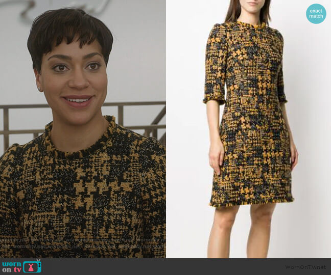 Half Sleeved Tweed Dress by Dolce & Gabbana worn by Lucca Quinn (Cush Jumbo) on The Good Fight