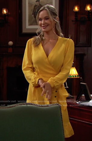 Donna's yellow dotted wrap dress on The Bold and the Beautiful