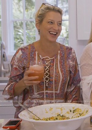 Dorinda's printed tassel tie tunic on The Real Housewives of New York City