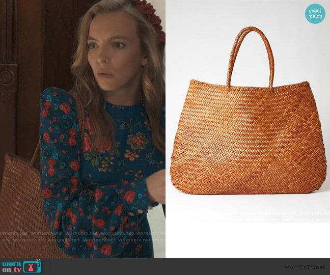 Sophie Basket Bag Tan Extra Large by Dragon worn by Villanelle (Jodie Comer) on Killing Eve
