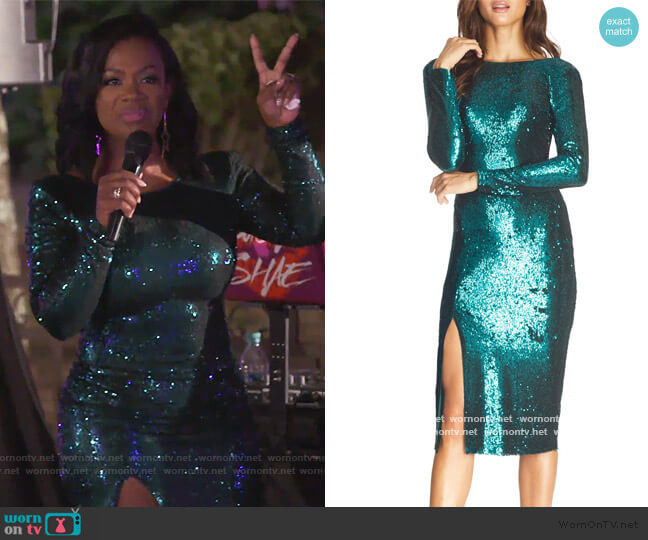 Natalie Sequin Long Sleeve Body-Con Dress by Dress the Population worn by Kandi Burruss  on The Real Housewives of Atlanta