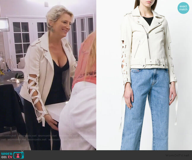 lace-up sleeve biker jacket by Each X Other worn by Dorinda Medley  on The Real Housewives of New York City