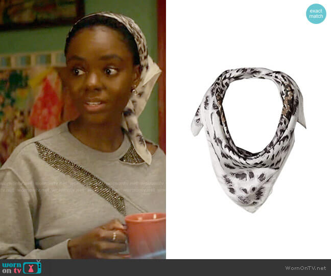 Echo New York Leopard Silk Square Scarf worn by Josie McCoy (Ashleigh Murray) on Katy Keene