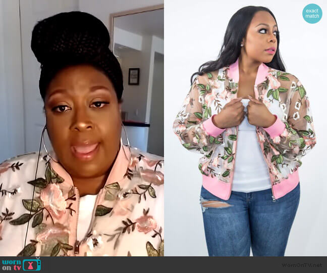 Pinky Promise Bomber Jacket by Eleven 60 worn by Loni Love  on The Real