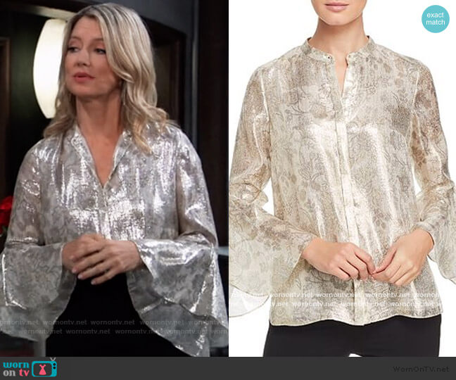 Emerson Metallic Floral Blouse by Elie Tahari worn by Nina Reeves (Cynthia Watros) on General Hospital