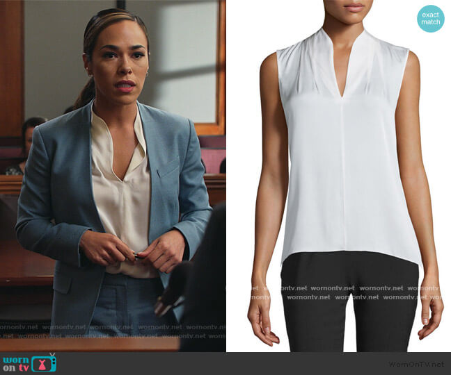 Judith Silk Blouse by Elie Tahari worn by Emily Lopez (Jessica Camacho) on All Rise