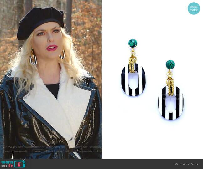 Bennett Earrings by Elizabeth Cole worn by Alexis Carrington (Elaine Hendrix) on Dynasty