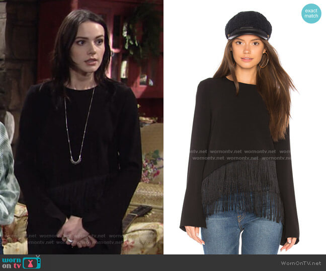 Hudson Fringe Top by Elizabeth and James worn by Tessa Porter (Cait Fairbanks) on The Young & the Restless
