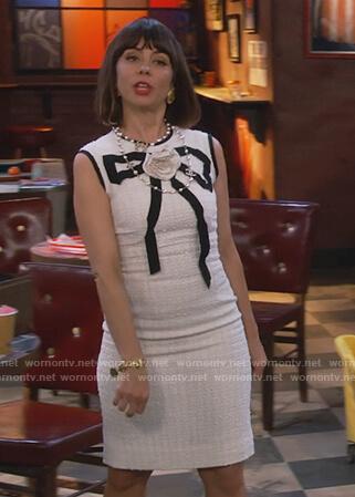 Elizabeth's white tweed bow dress on Broke