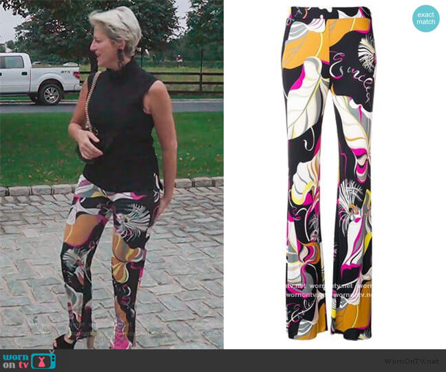 Frida Print Flared Trousers by Emilio Pucci worn by Dorinda Medley  on The Real Housewives of New York City