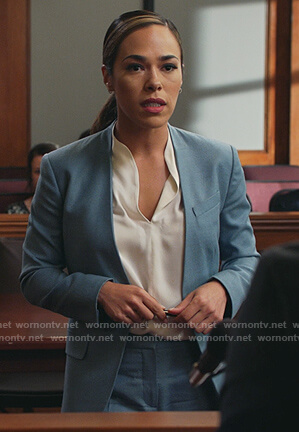 Emily's blue blazer and white top on All Rise