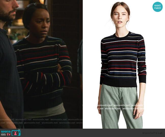 Shirley Stripe Cashmere Sweater by Equipment worn by Michaela Pratt (Aja Naomi King) on HTGAWM
