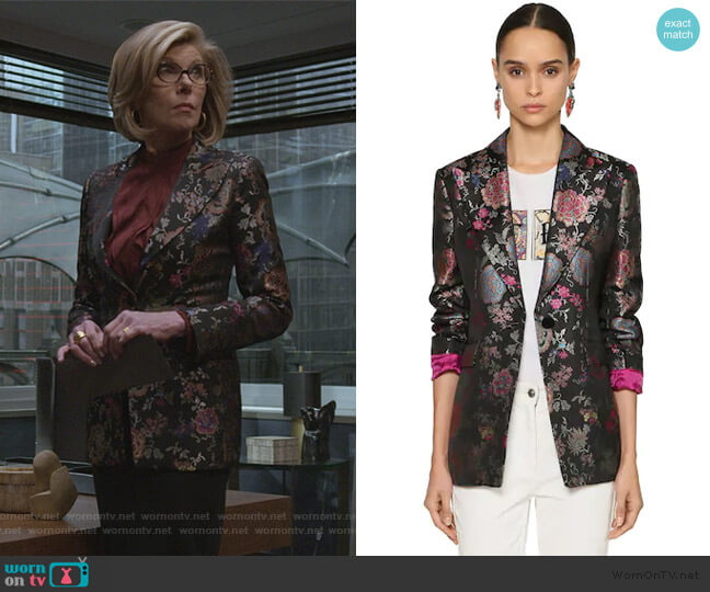 Jacquard Blazer by Etro worn by Diane Lockhart (Christine Baranski) on The Good Fight