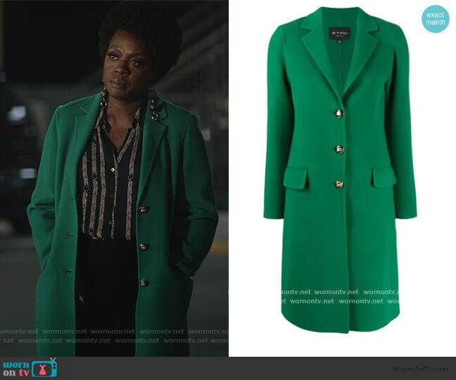 single-breasted midi coat by Etro worn by Annalise Keating (Viola Davis) on HTGAWM