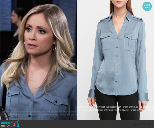 Slim Fit Satin Military Portofino Shirt by Express worn by Lulu Spencer Falconeri (Emme Rylan) on General Hospital