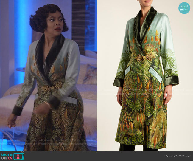 Escape Velvet-Trimmed Robe by F.R.S For Restless Sleepers worn by Cookie Lyon (Taraji P. Henson) on Empire