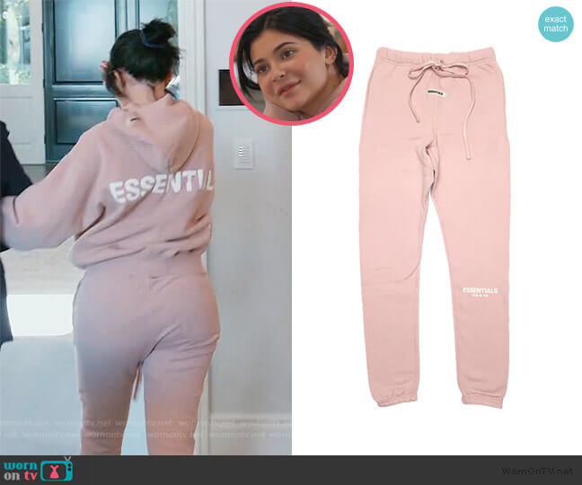 Pink Sweatpants by Fear of God Essentials worn by Kylie Jenner  on Keeping Up with the Kardashians