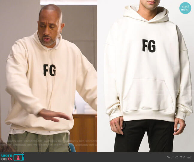 Everyday Raised-Logo Cotton Hoodie by Fear of God worn by Kenya Barris  on BlackAF