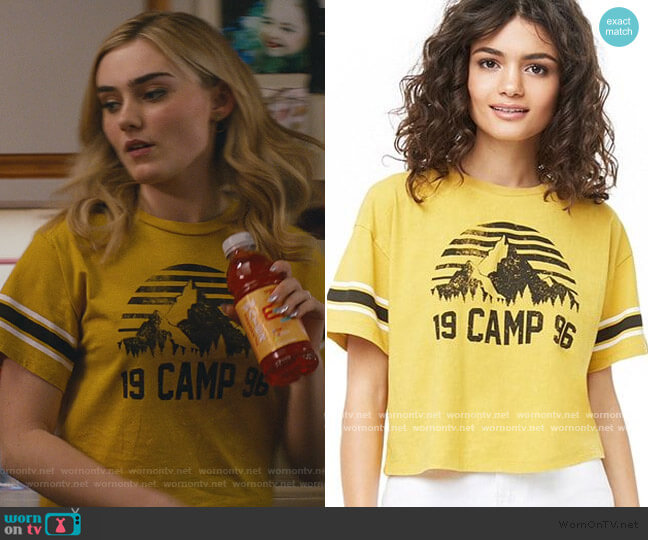1996 Camp Tee by Forever 21 worn by Taylor Otto (Meg Donnelly) on American Housewife