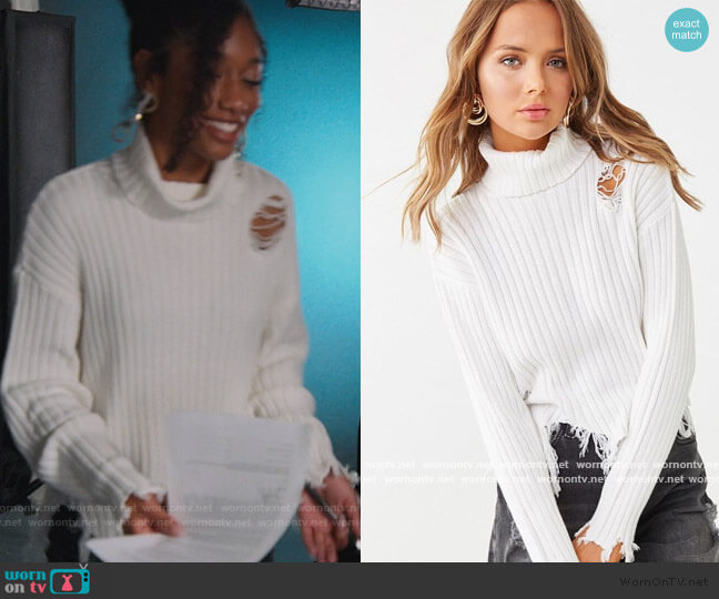 Distressed Turtleneck Sweater by Forever 21 worn by Drea Barris (Iman Benson) on BlackAF
