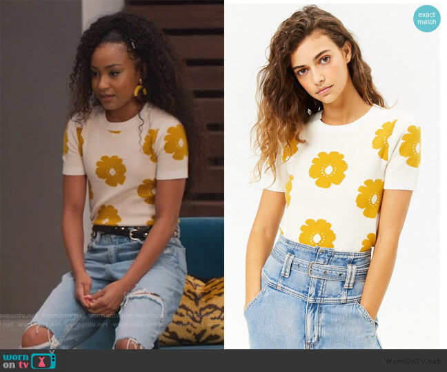 Floral Brushed Knit Top by Forever 21 worn by Chloe Barris (Genneya Walton) on BlackAF