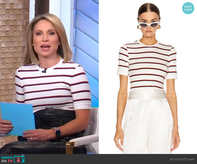 70-s Variegated Rib Tee by Frame worn by Amy Robach  on Good Morning America