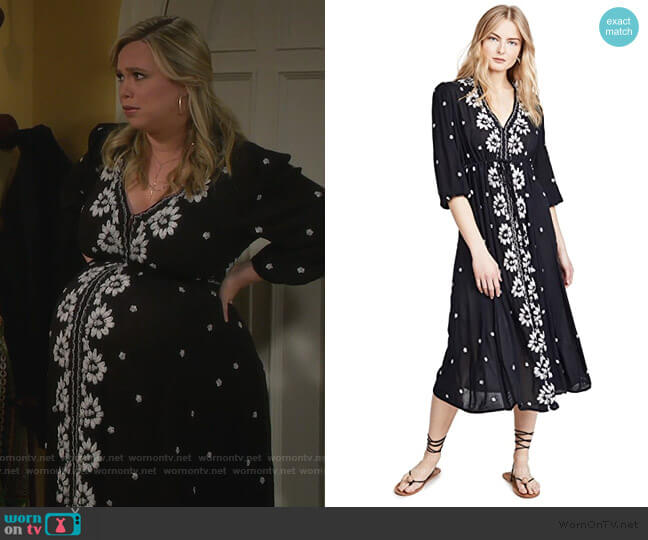 Embroidered Fable Midi Dress by Free People worn by Kristin Baxter (Amanda Fuller) on Last Man Standing