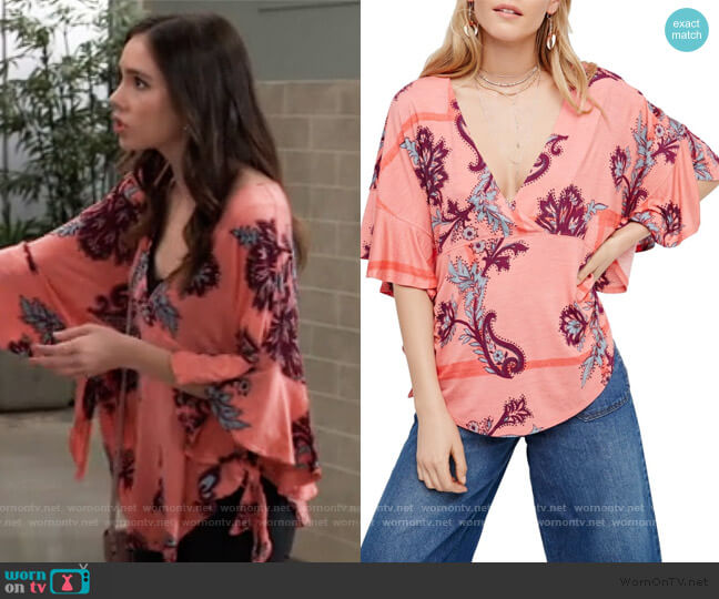 Maui Wowie Palm Print Shirt by Free People worn by Molly Lansing-Davis (Haley Pullos) on General Hospital