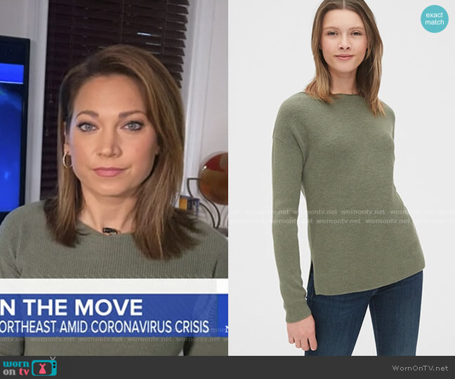 True Soft Boatneck Sweater by Gap worn by Ginger Zee  on Good Morning America