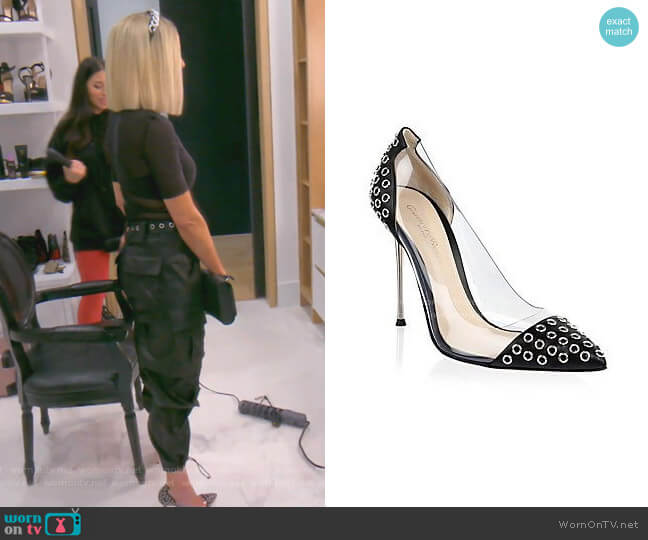 Grommet Plexi Pumps by Gianvito Rossi worn by Dorit Kemsley  on The Real Housewives of Beverly Hills