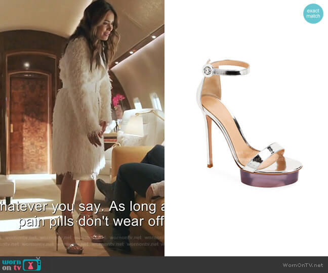 Metallic Metal Rubber Sandals by Gianvito Rossi worn by Cristal Jennings (Daniella Alonso) on Dynasty