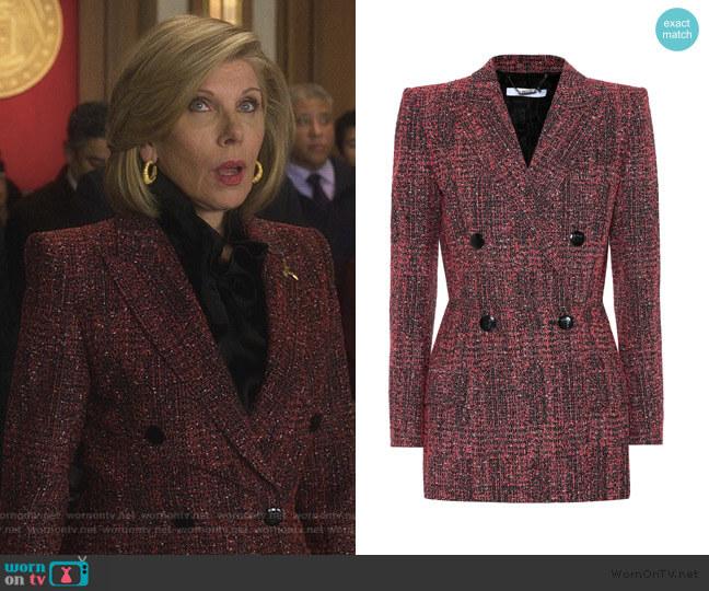 Tweed blazer by Givenchy worn by Diane Lockhart (Christine Baranski) on The Good Fight