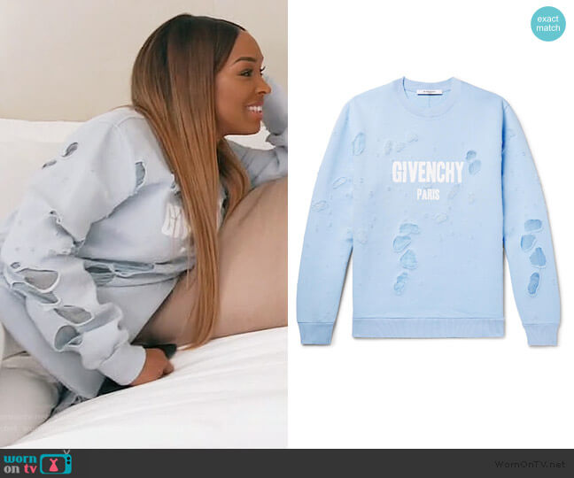 Distressed Logo Sweatshirt by Givenchy worn by Malika on Keeping Up with the Kardashians