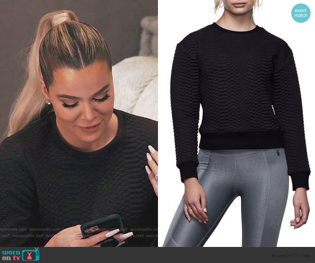 The Quilted Snake Sweatshirt by Good American worn by Khloe Kardashian  on Keeping Up with the Kardashians