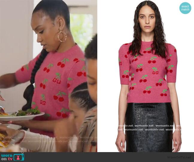Cherries Short Sleeve Sweater by Gucci worn by Chloe Barris (Genneya Walton) on BlackAF