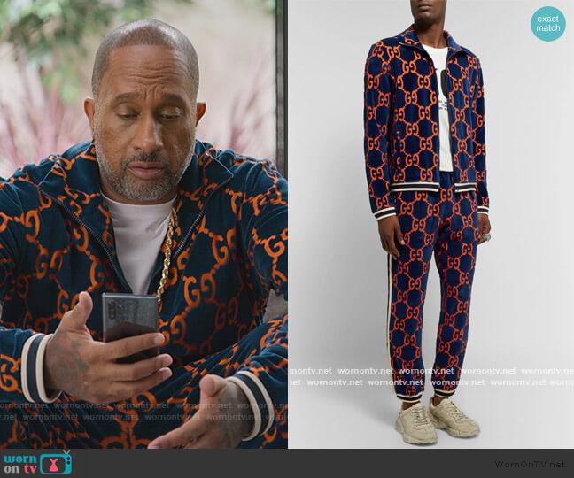 Cotton Devoré-Velvet Track Jacket and Pants by Gucci worn by Kenya Barris  on BlackAF