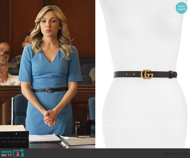 Double-G Buckle Calfskin Belt by Gucci worn by Amy Quinn (Lindsey Gort) on All Rise