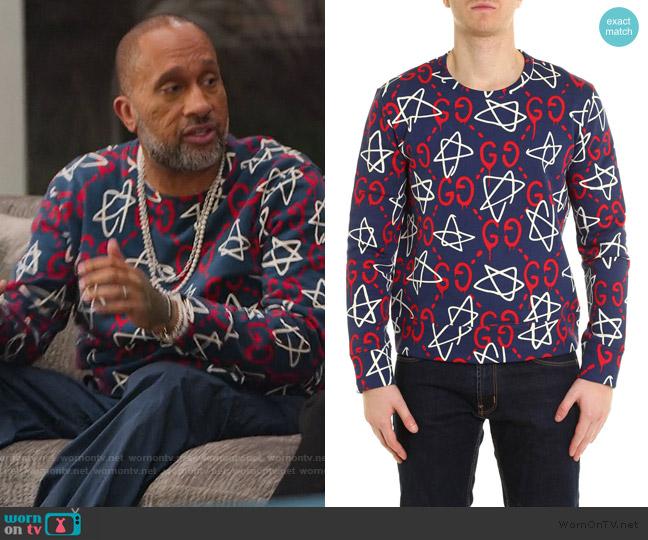 Ghost Star Sweatshirt by Gucci worn by Kenya Barris  on BlackAF