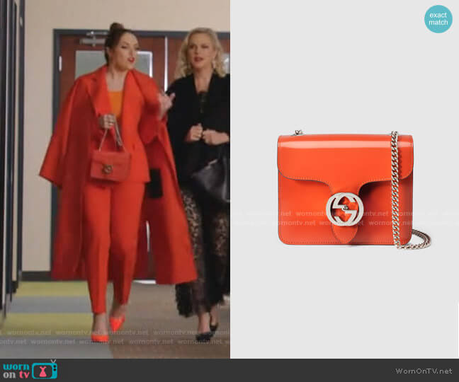 Interlocking Polished Leather Shoulder Bag by Gucci worn by Fallon Carrington (Elizabeth Gillies) on Dynasty