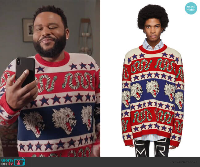 Blue & Red Jacquard Symbols Sweater by Gucci worn by Andre Johnson (Anthony Anderson) on Blackish