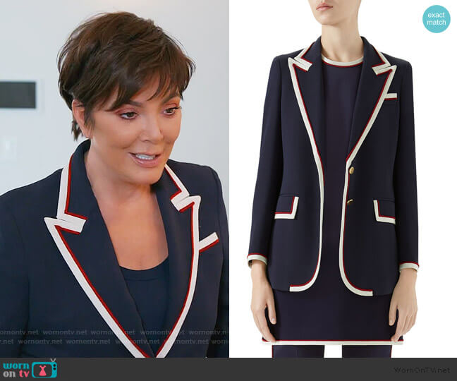 Peak-Lapel Two-Button Cady-Stretch Blazer by Gucci worn by Kris Jenner  on Keeping Up with the Kardashians
