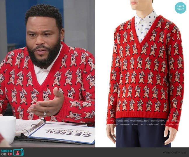 Pig Wool V-Neck Sweater by Gucci worn by Andre Johnson (Anthony Anderson) on Blackish