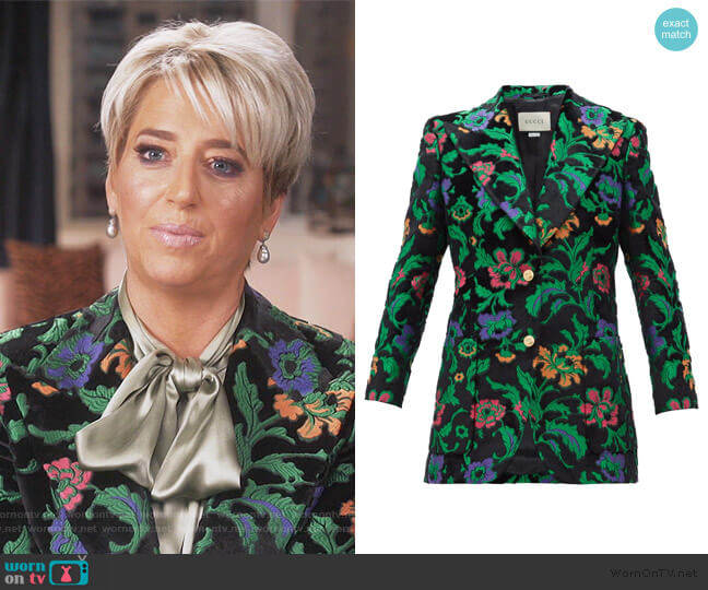 Single-breasted floral-jacquard velvet Jacket by Gucci worn by Dorinda Medley  on The Real Housewives of New York City