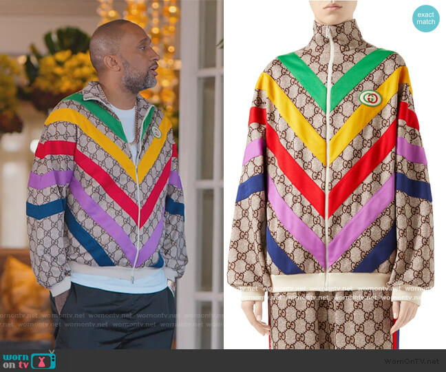 Technical Jersey GG Rainbow Track Jacket by Gucci worn by Kenya Barris  on BlackAF