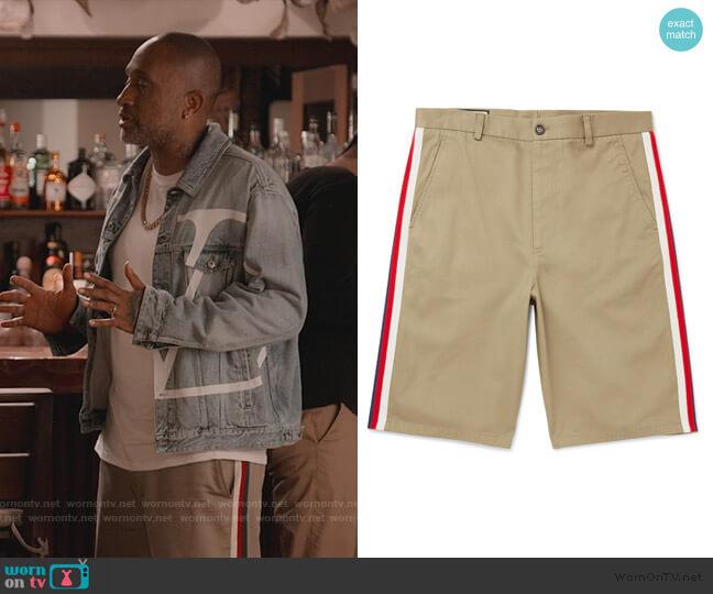 Webbing-Trimmed Cotton-Twill Bermuda Shorts by Gucci worn by Kenya Barris  on BlackAF