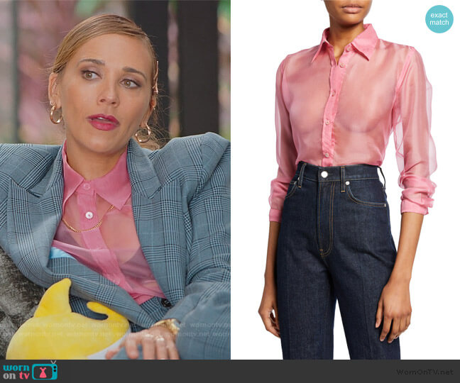 Button-Down Long-Sleeve Silk Organza Shirt by Helmut Lang worn by Joya Barris (Rashida Jones) on BlackAF