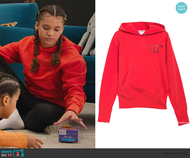 Logo Hack Hoodie by Helmut Lang worn by Izzy Barris (Scarlet Spencer) on BlackAF